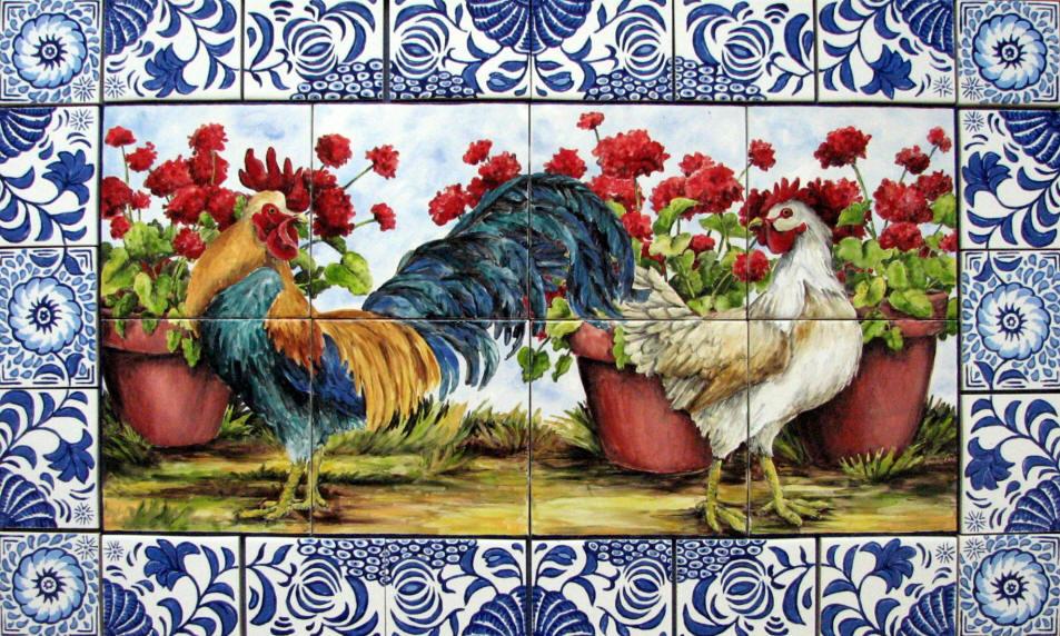 wwwtilesbymimicomMURALSLandscapesroosters tile mural delft 2JPG 953x572