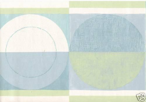 Modern Geometric Circles Blue White Lime Only 6 Wallpaper Border 883 500x350