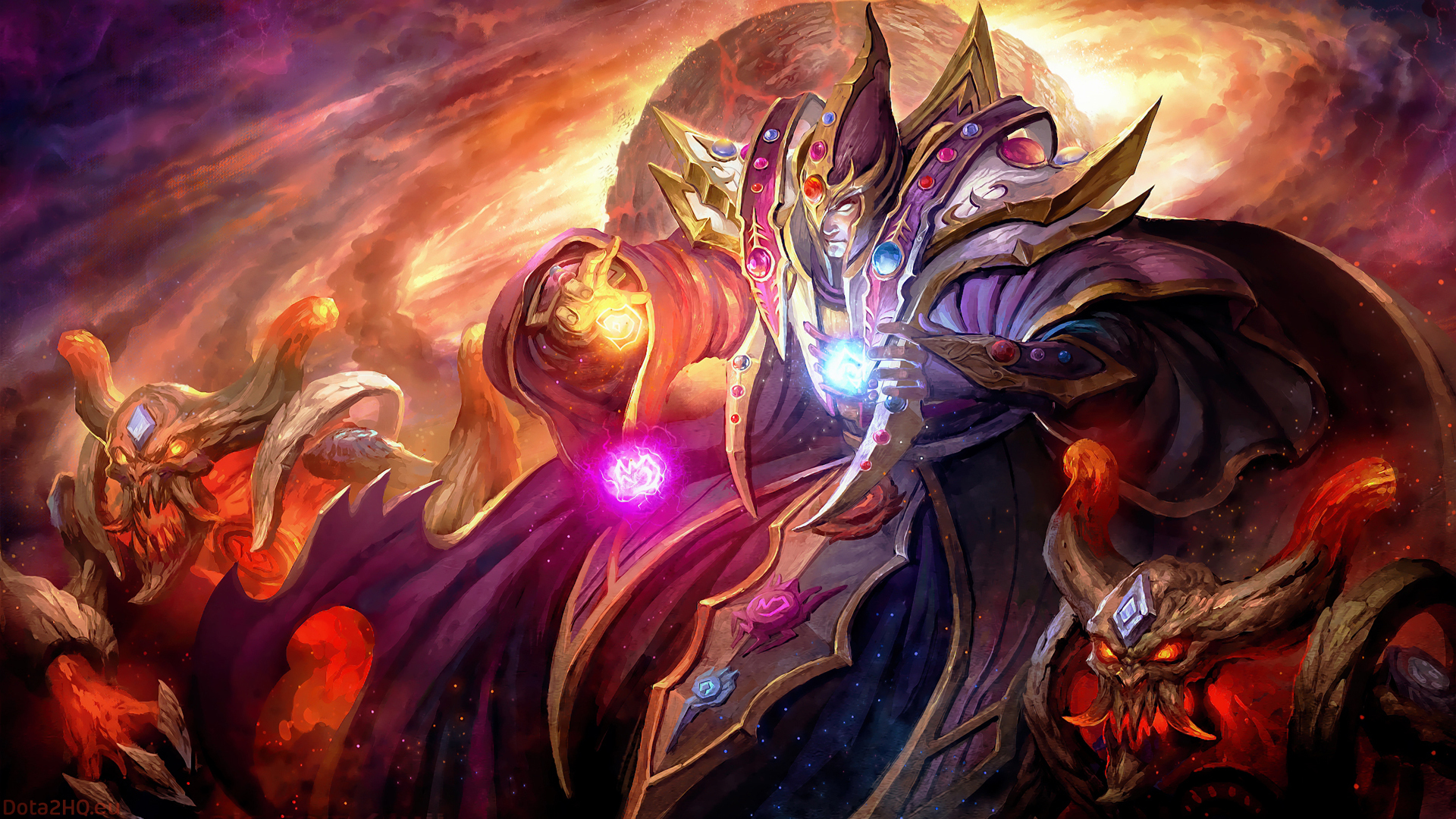 Invoker Dota 2 Art King Game Character Wallpaper WallpapersByte 1920x1080