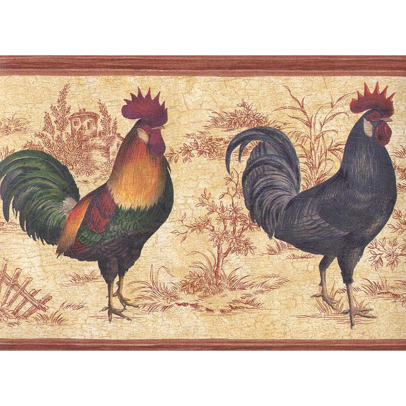 Wallpaper Border Chickens Rooster Toile Border 800x800