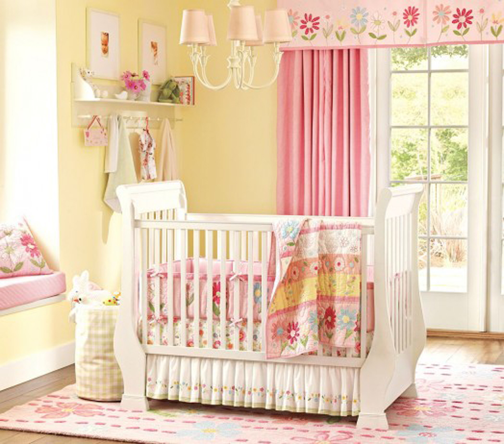 Nursery wallpaper for girls wallpapersafari for Baby room wallpaper
