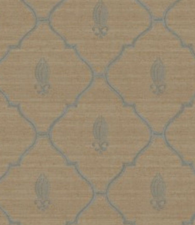 Wallpaper Designer Blue Trellis Lattice with Fleur de Lis on Taupe 752x871