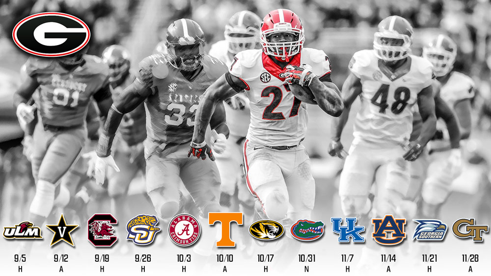 2015 UGA Schedule Wallpaper ft Nick Chubb 1000x563