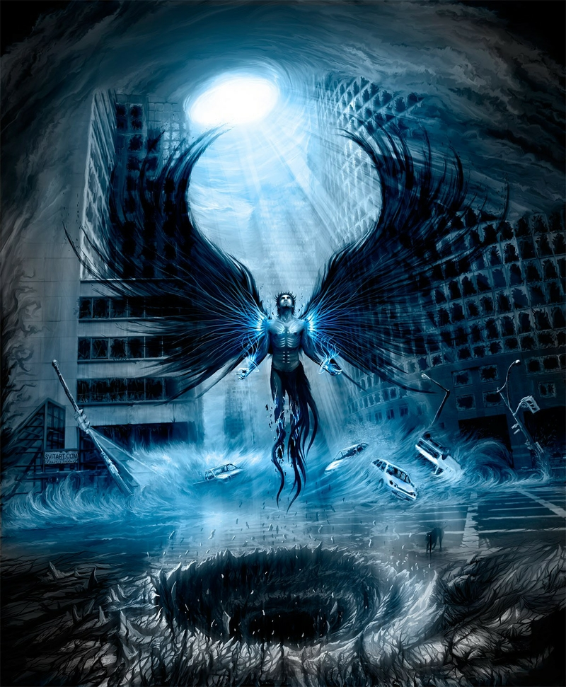 angelswings angels wings cityscapes postapocalyptic dark angel 800x971