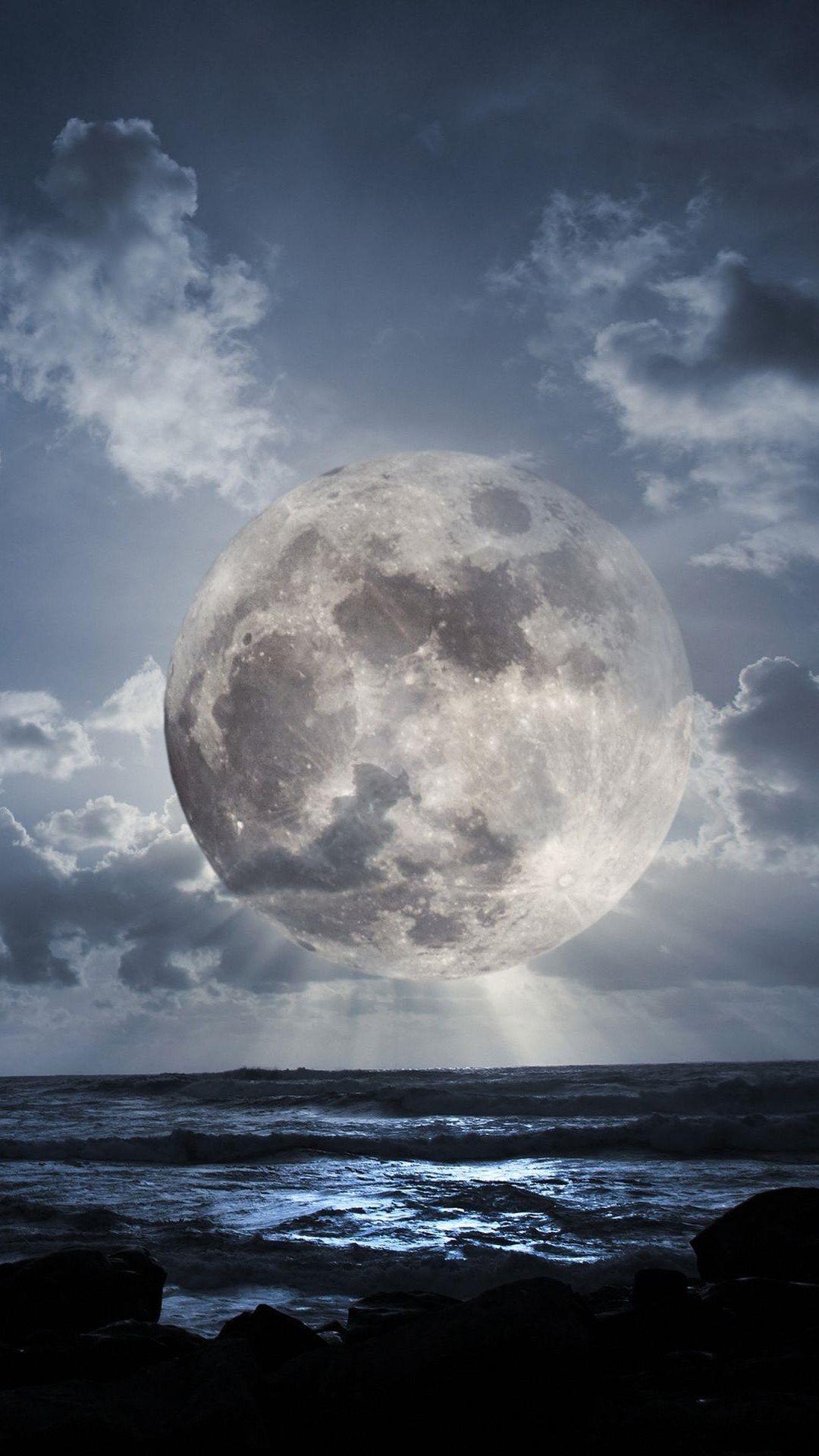 Super Moon Over Sea iPhone 6 Wallpaper Download iPhone Wallpapers 1080x1920