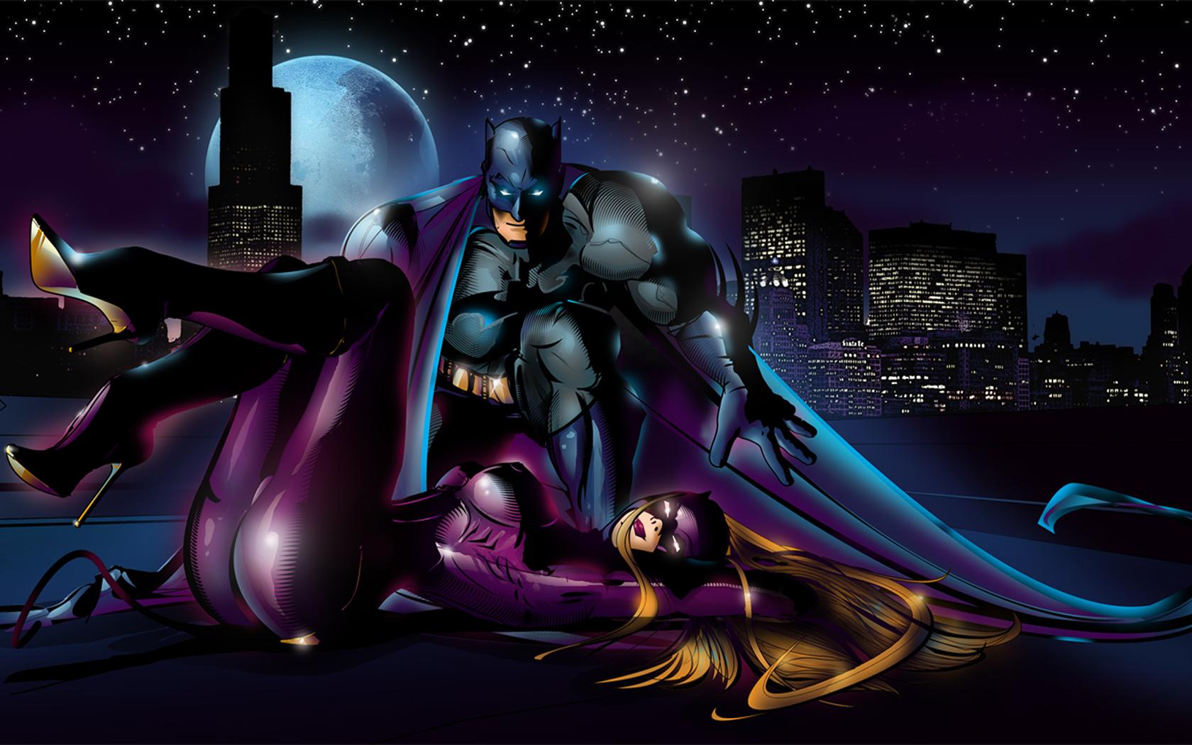 Cartoons Wallpapers   Batman Catwoman In Gotham 1680x1050 wallpaper 1680x1050