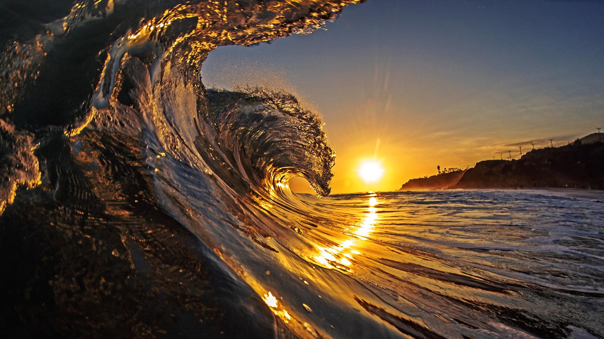 Waves sunset wallpaper 1920x1080 36000 WallpaperUP 1920x1080
