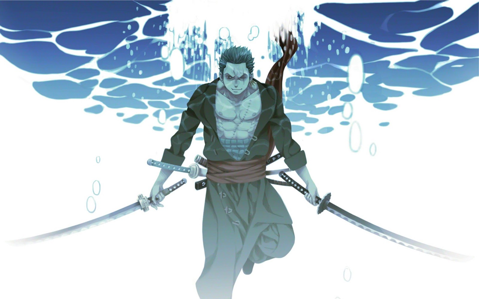 Sword Underwater One Piece Anime HD Wallpaper Desktop Background 1600x1000