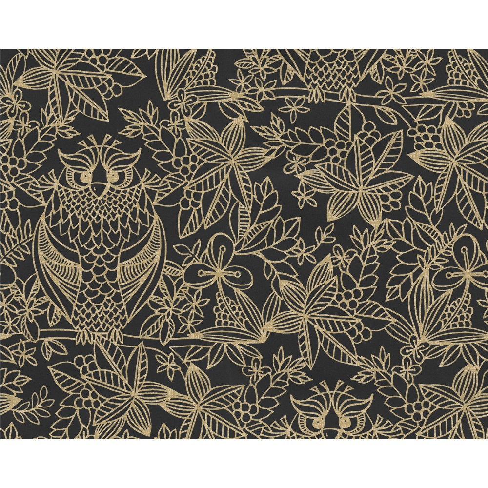Owl Pattern Bird Floral Leaf Motif Metallic Designer Wallpaper 9711 1000x1000