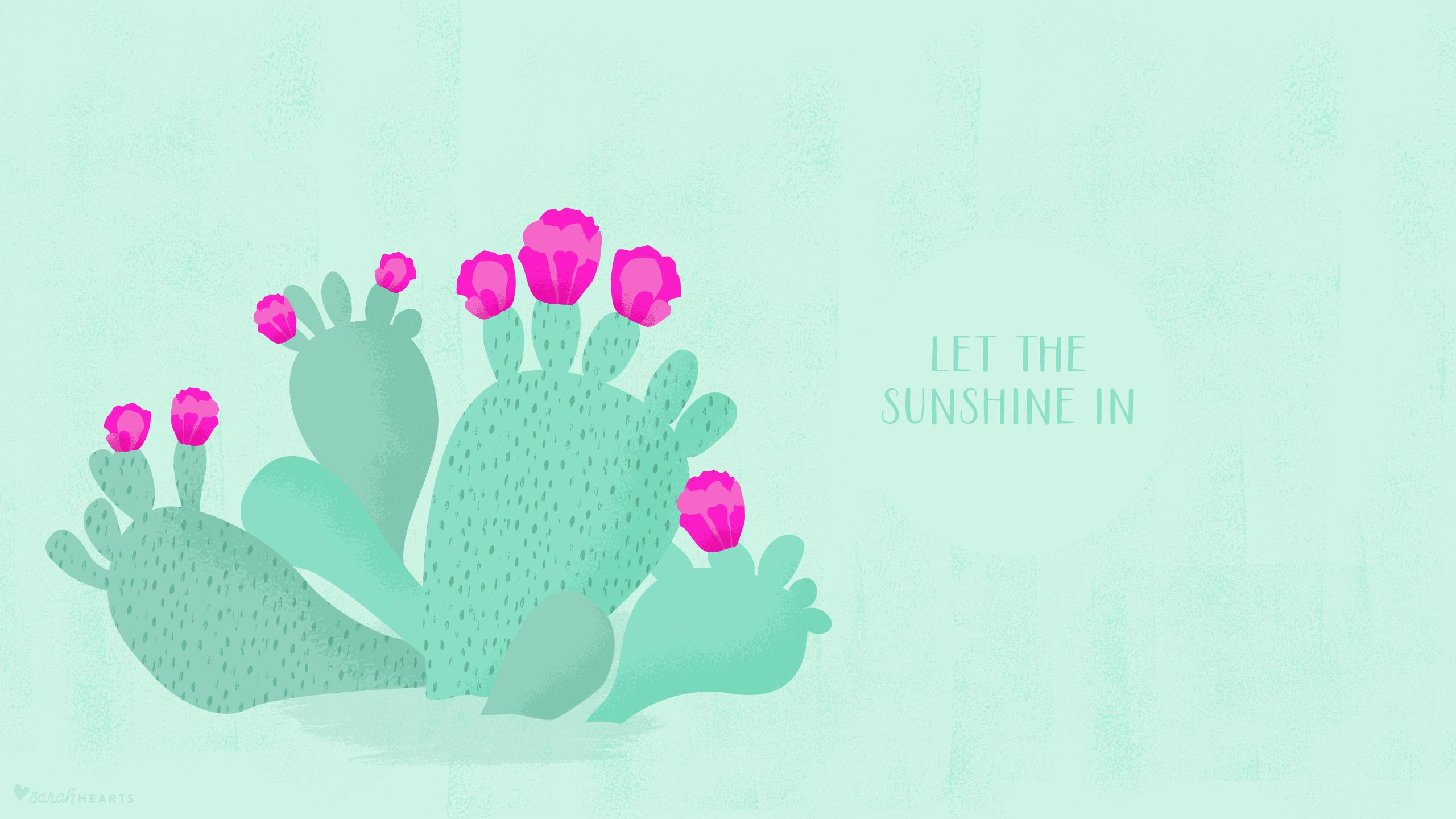 May 2016 Cactus Calendar Wallpaper   Sarah Hearts 2560x1440