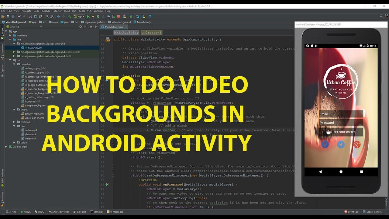Video Backgrounds in Android Studio 1280x720