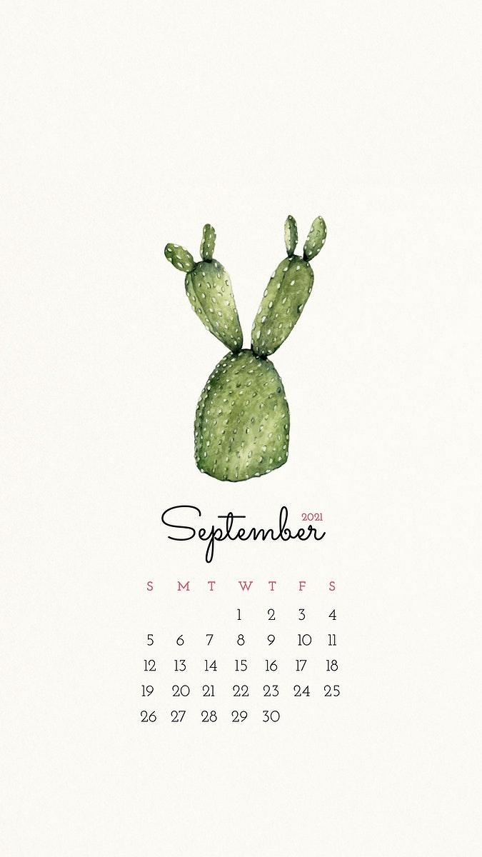 Calendar 2021 September printable template Premium Vector   rawpixel 675x1200