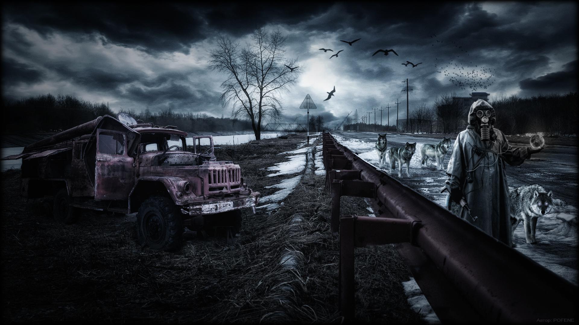 rain area night wolf wolves apocalyptic dark wallpaper background 1920x1080