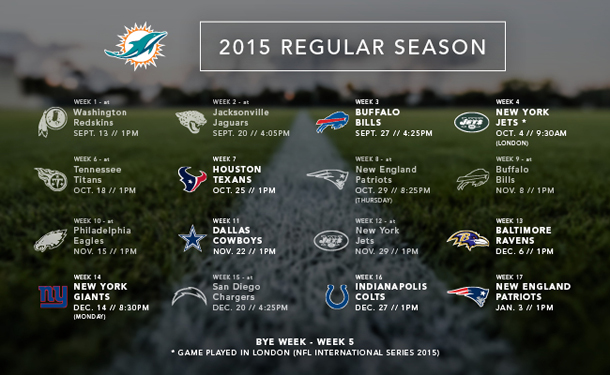 Miami Dolphins 2015 Schedule is HERE Power 96 Miamis Party 610x375