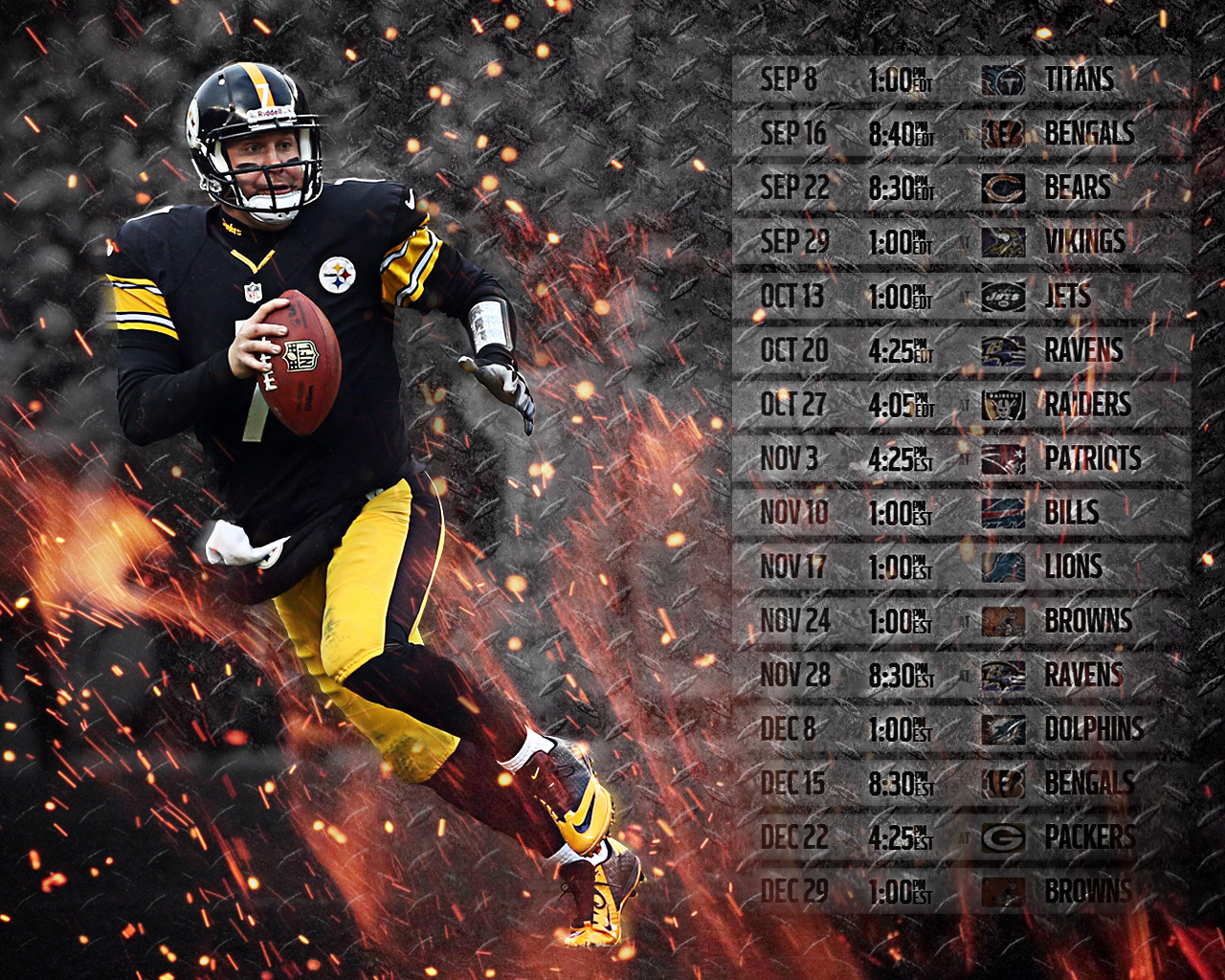 Ben Roethlisberger steelers 2013 14 schedule wallpaper 1280x1024