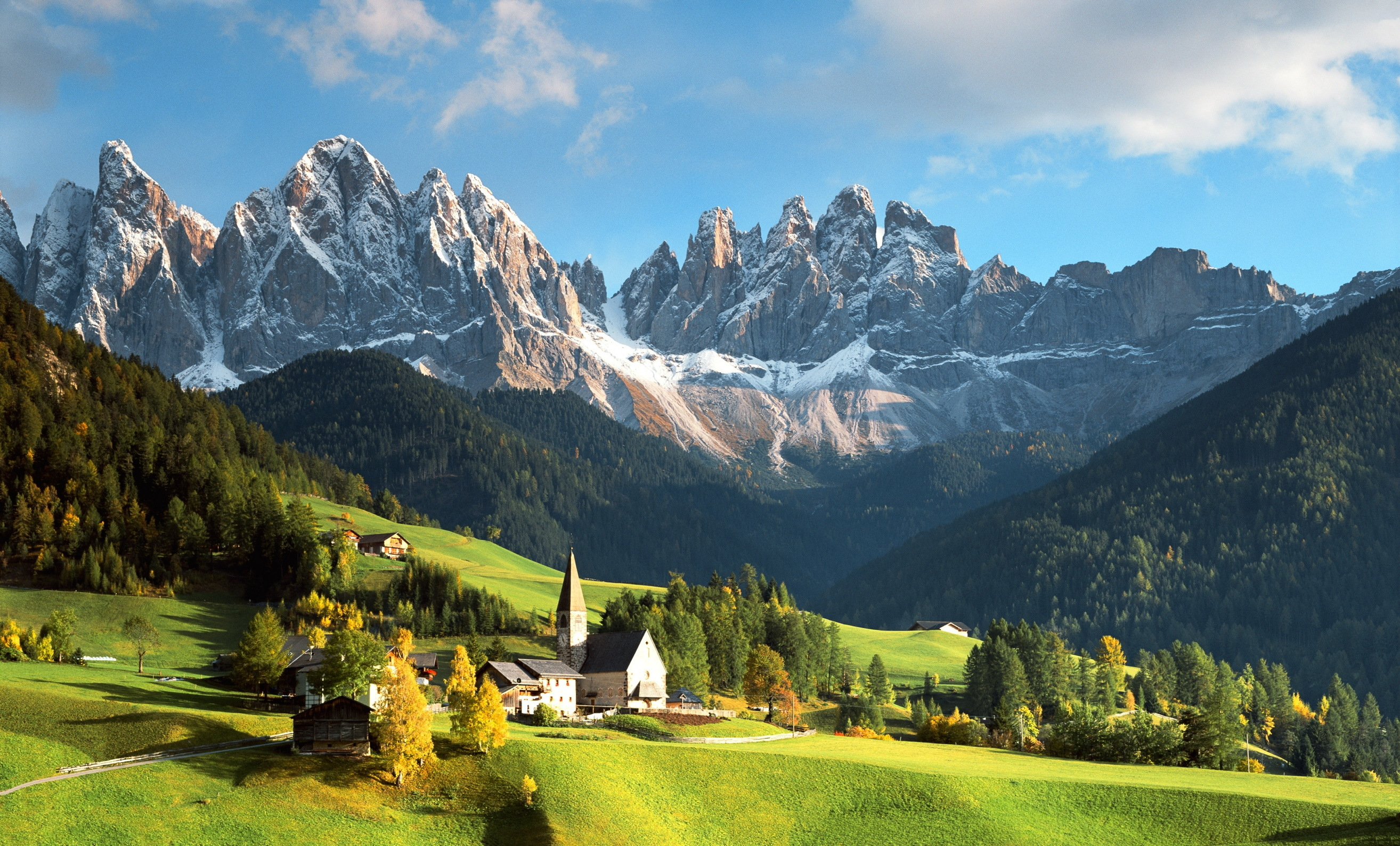 Wallpaper landscape mountains italian alps a town house nature 2628x1589