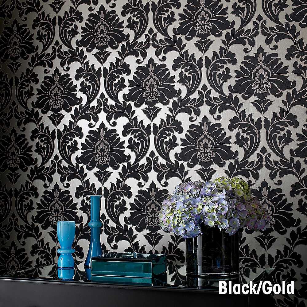 Home Graham Brown Majestic Wallpaper   Black 1000x1000