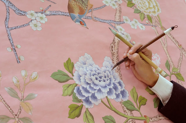 Peonies and Orange Blossoms Chic Chinoiserie Wallpapers 640x426