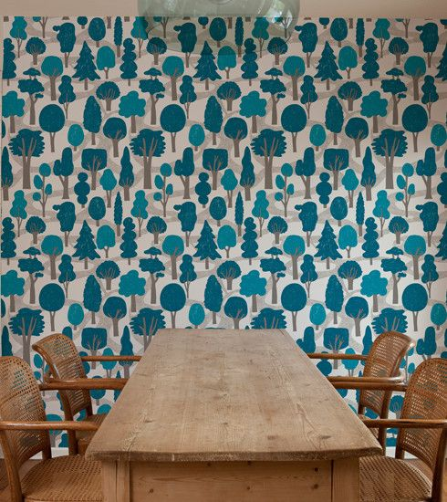 makelike a shop Zig Zag Wallpaper Bright Blue 490x550