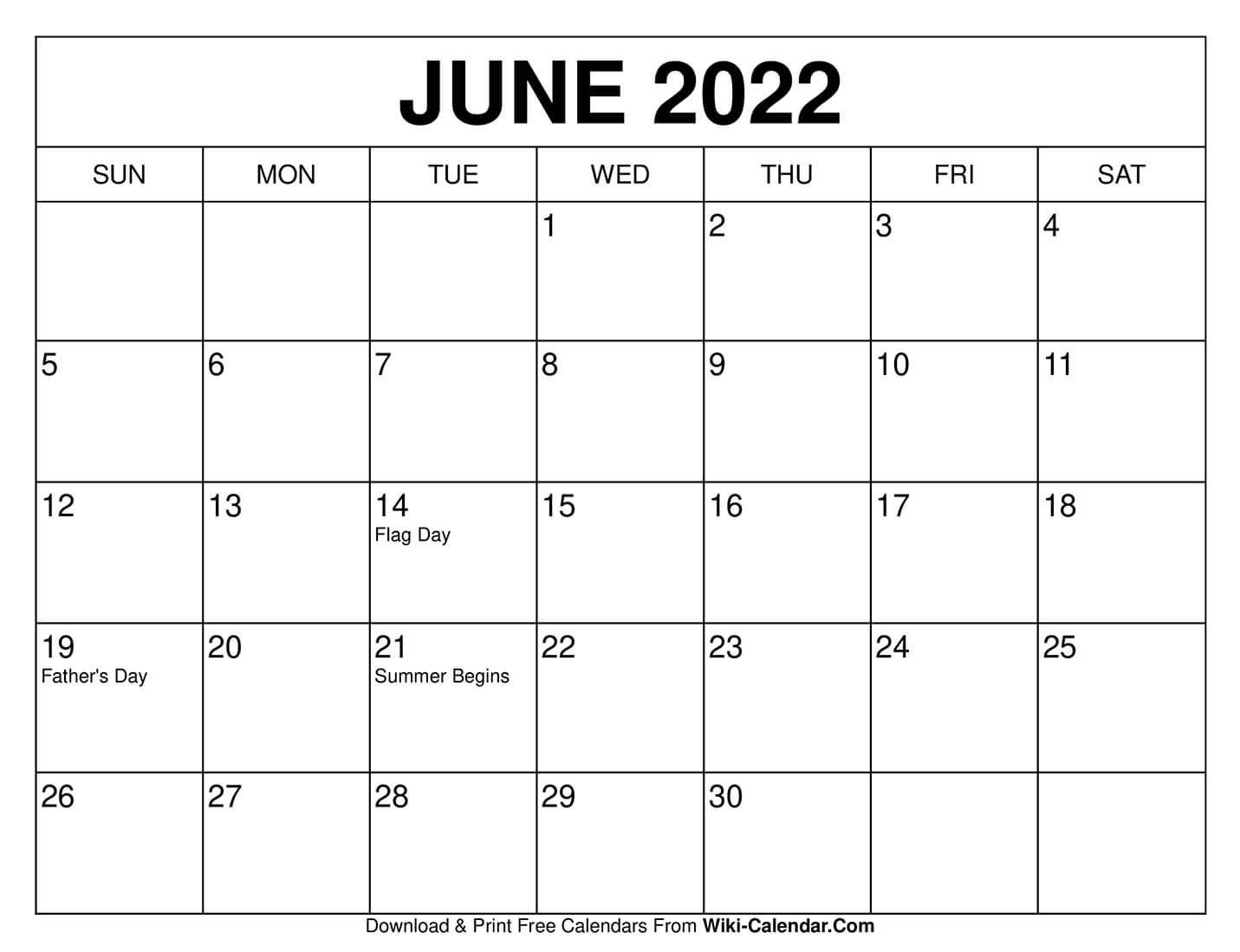 June 2022 Calendar Calendar printables calendars to print 1431x1099