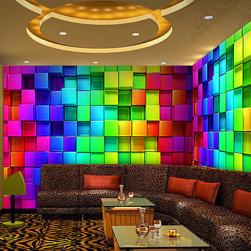 Wall Murals Wallpaper Reflectorised KTV Decorative Plaid Mural Wall 500x500
