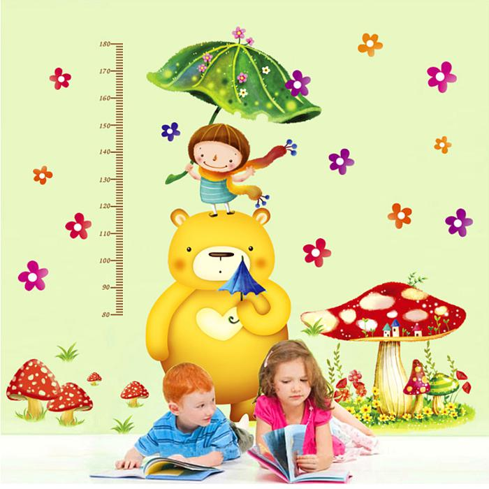 Home Decor Child Wall Wallpaper Measuring Tape Cartoon Height Kids 700x700