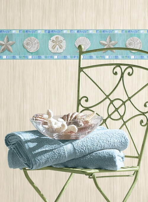 Down by the Sea Great border with coordinating wallpaper 500x681