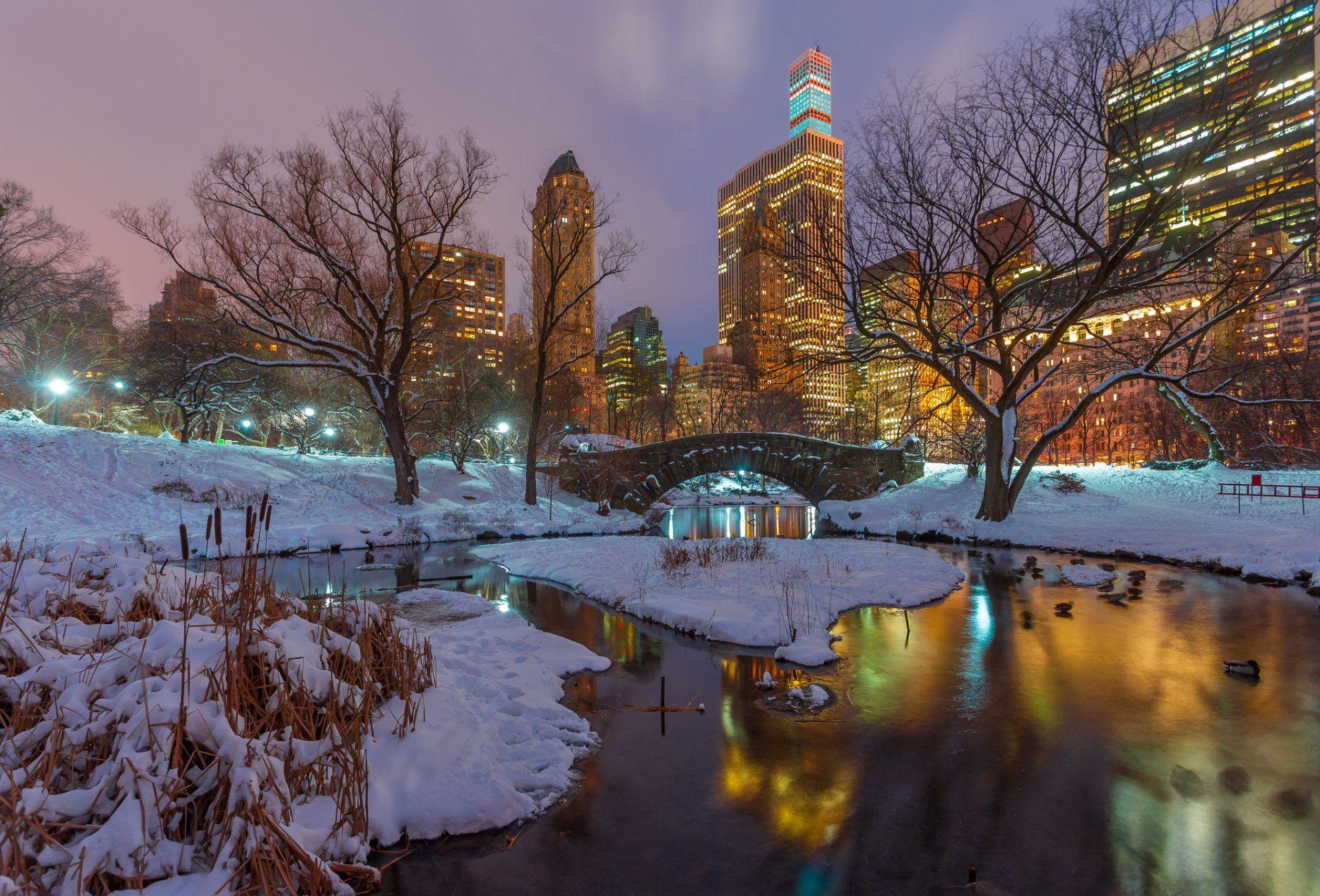 Man Made Central Park Night New York USA Winter Snow Bridge 1920x1304