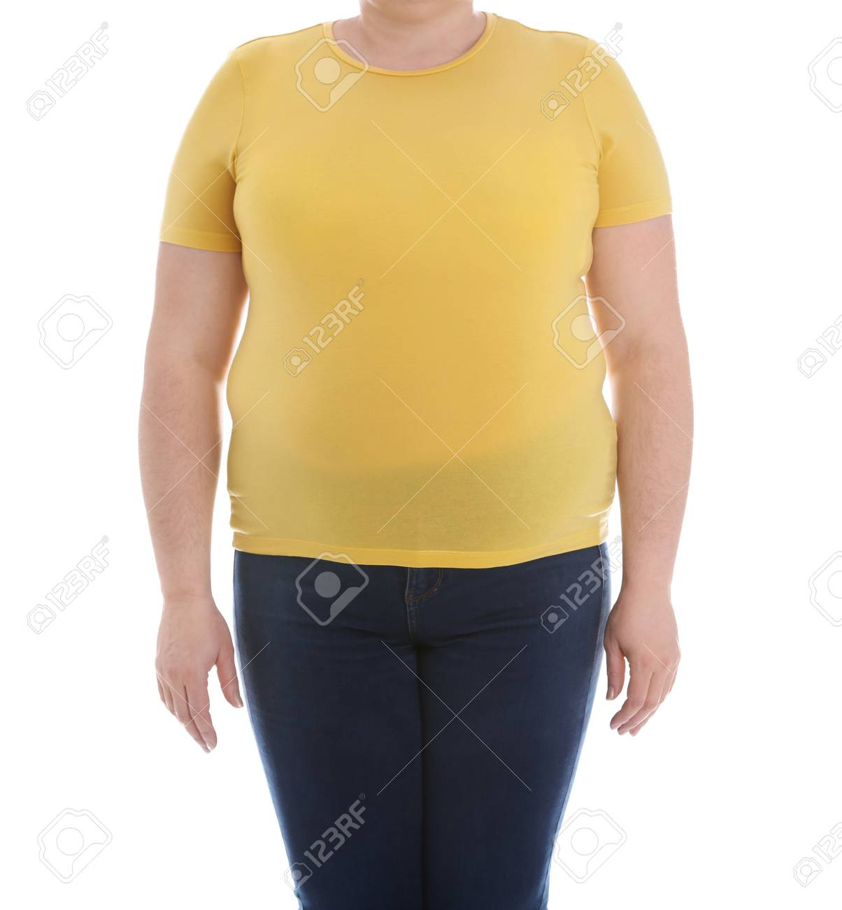 Overweight Woman On White Background Closeup Weight Loss Stock 1204x1300