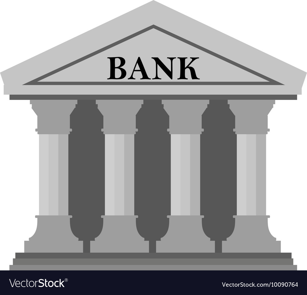Bank icon on White Background Royalty Vector Image 1000x959