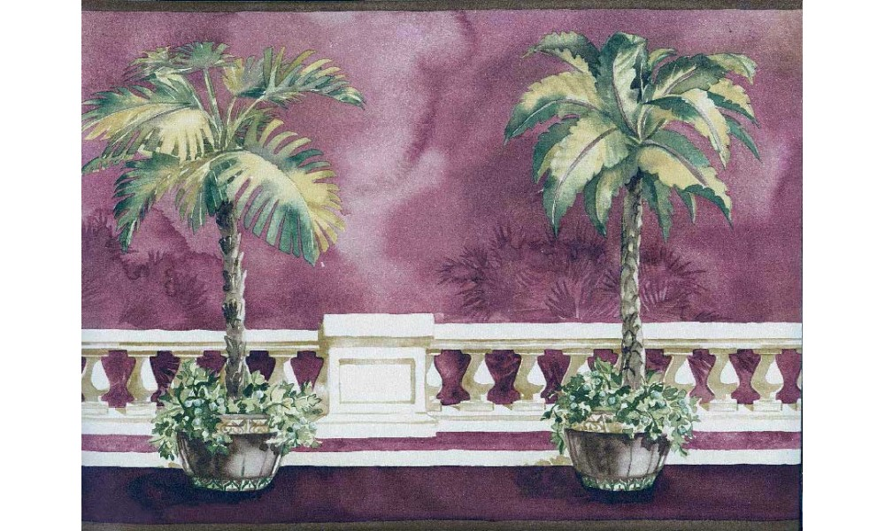 Home Brown Background Palm Tree on Balcony Wallpaper Border 1000x600