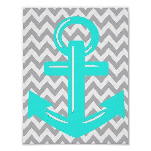 Chevron Anchor Background Chevron neon teal anchor print 512x512
