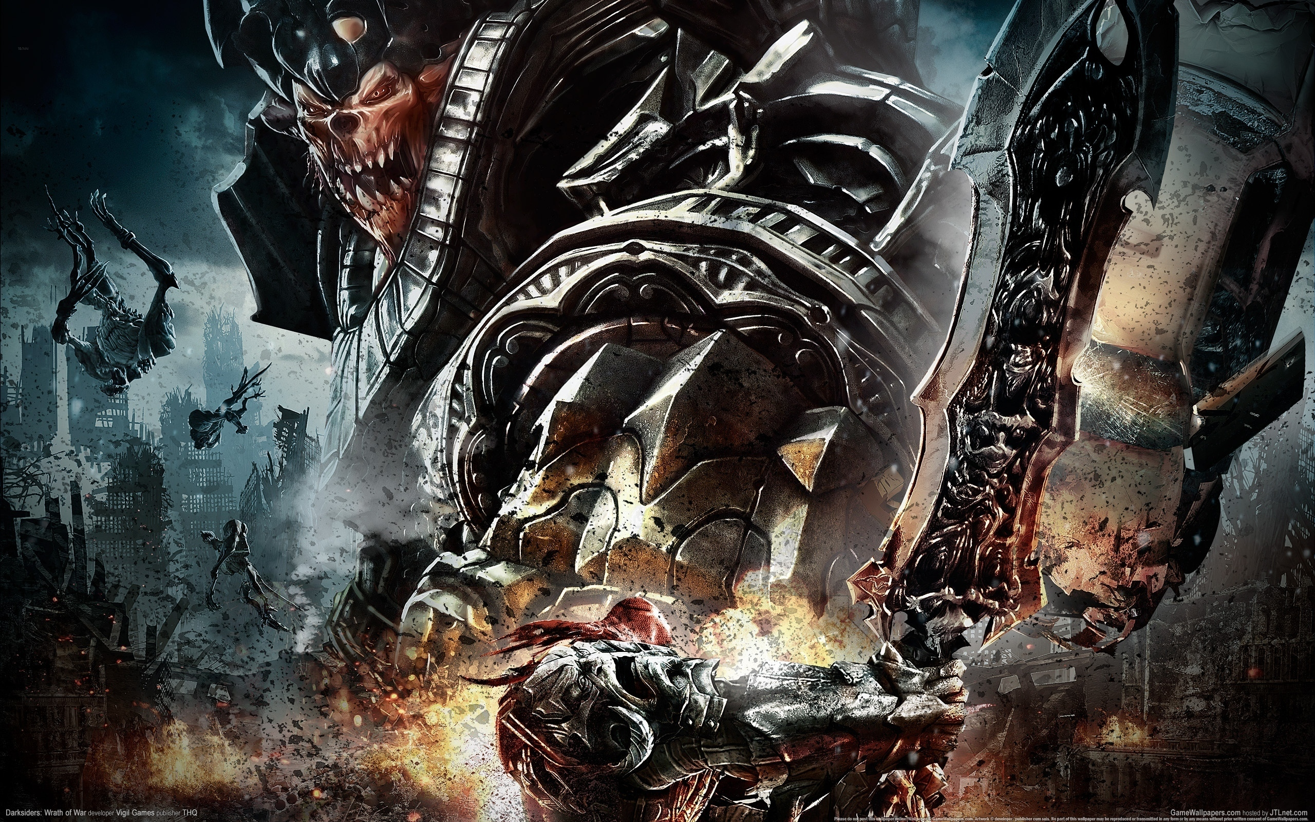 Darksiders Wrath War undead sci fi reaper mecha dark fantasy wallpaper 2560x1600