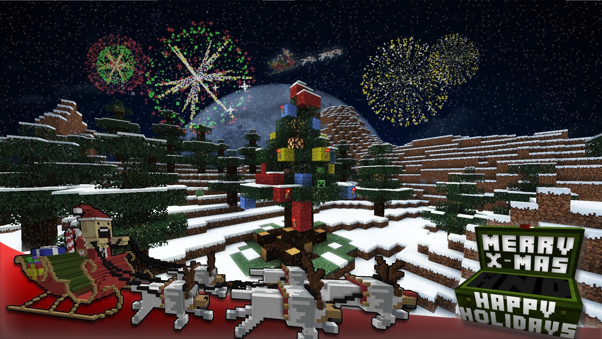 Майнкрафт открытки с новым годом