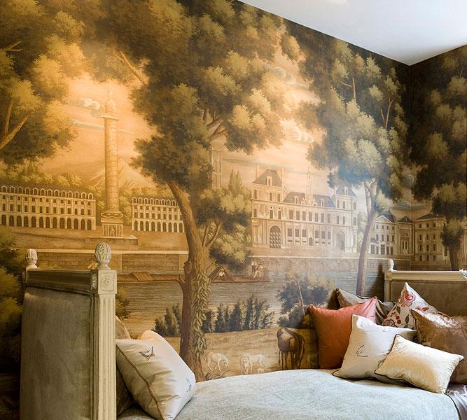 zuber grisaille wallpaper panoramic landscapes. Black Bedroom Furniture Sets. Home Design Ideas