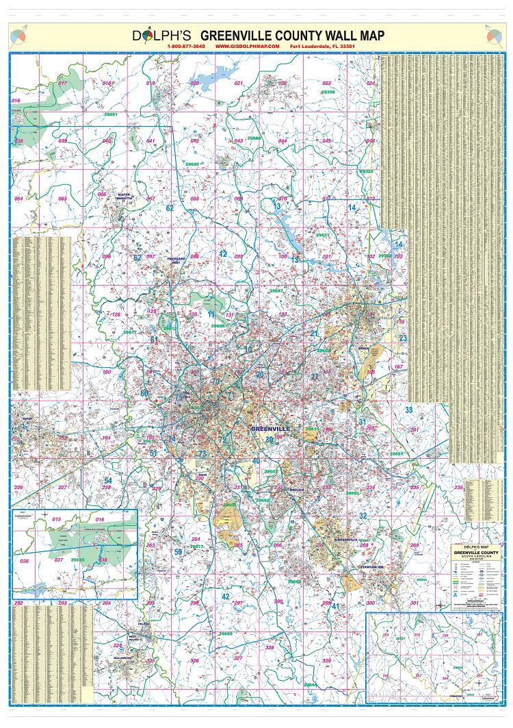 Greenville County Sc Mls 60 Wall Map 750x1063