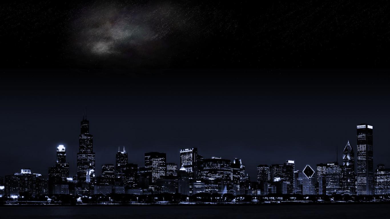Dark City Background 1366x768