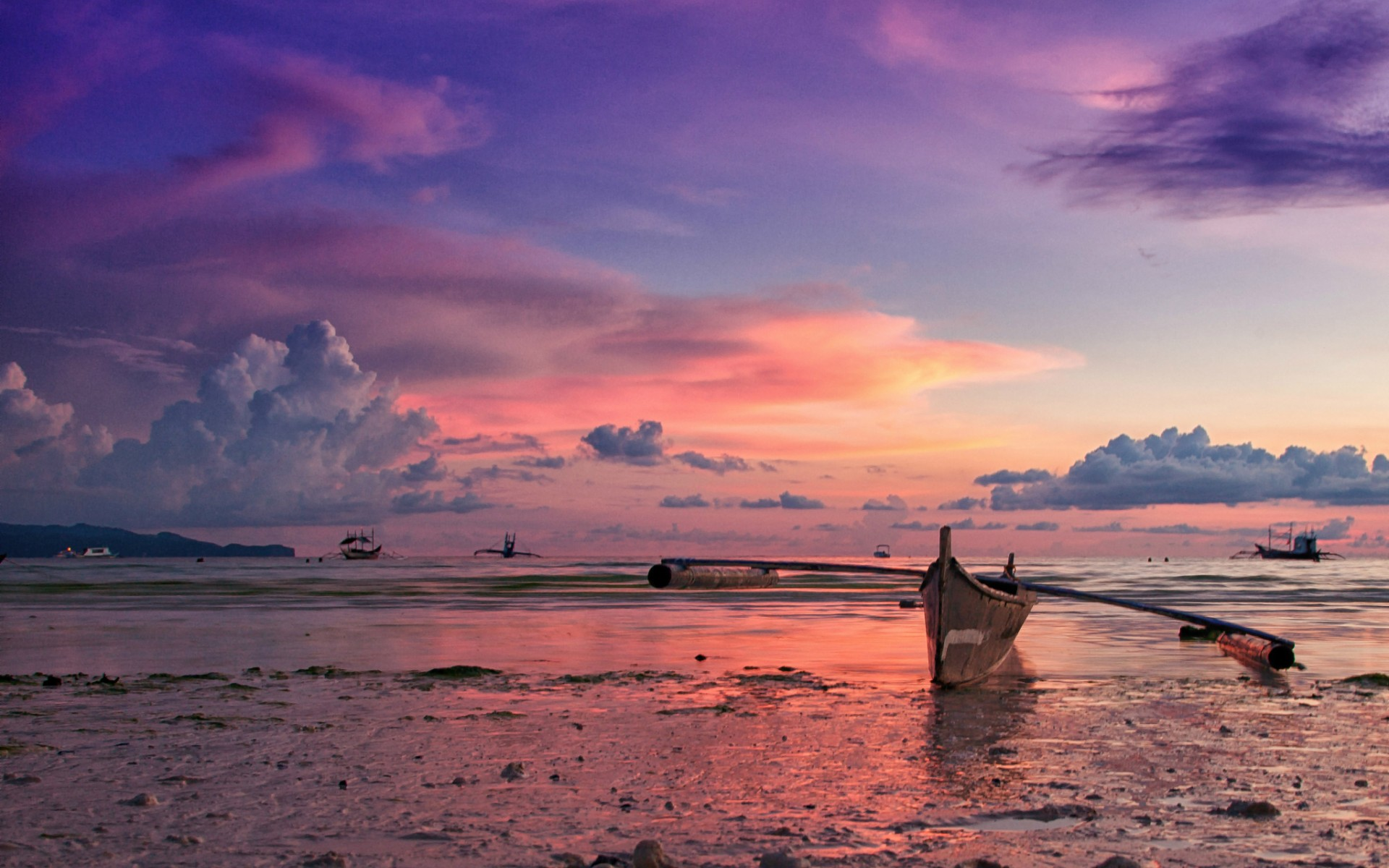 Philippines island ocean beach boat evening sunset sky clouds beaches 1920x1200