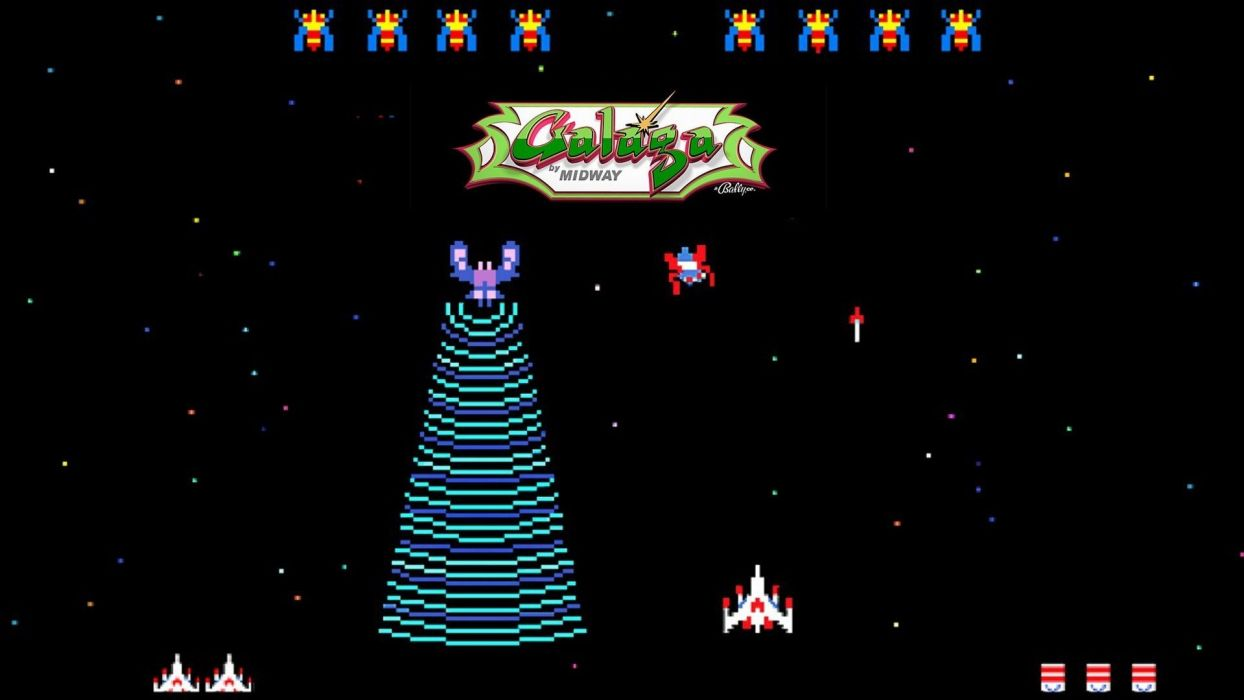 GALAGA sci fi arcade shooter spaceship action atari wallpaper 1244x700