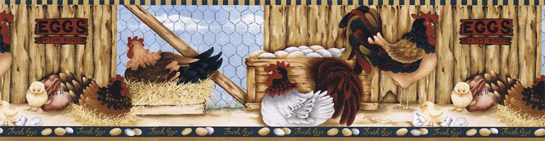 Details about COUNTRYCHICKE N FARMROOSTER Wallpaper Border LBO222B 770x200