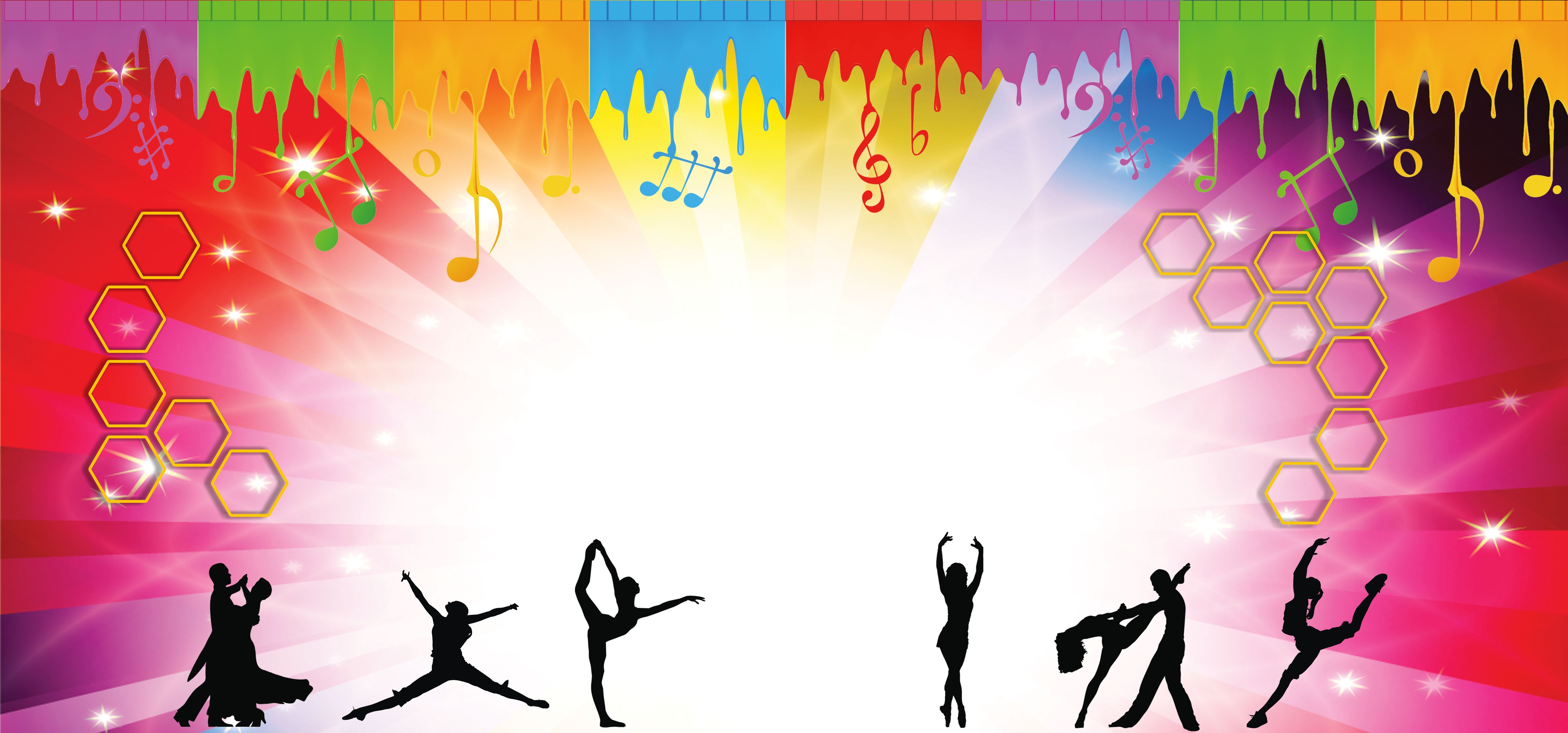 Flat Color Dancing People Background Poster background design 5809x2716