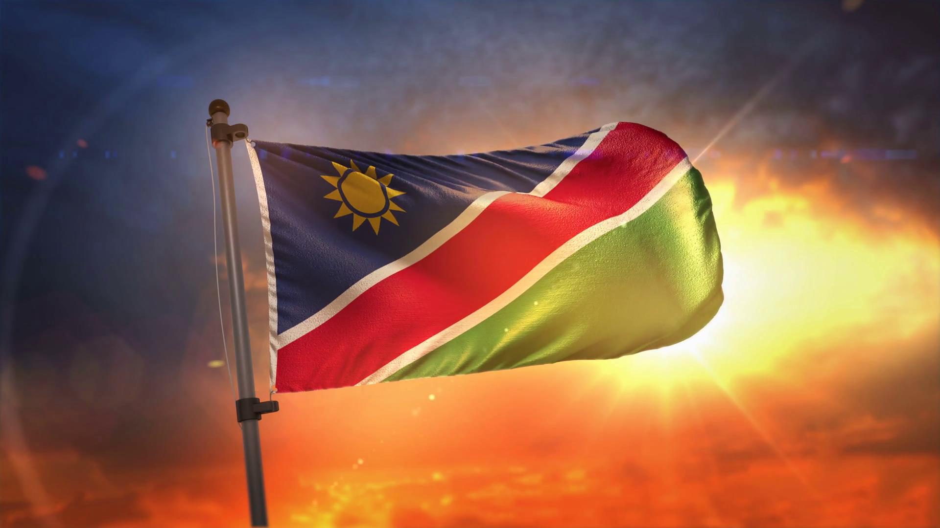 Namibia Flag Backlit At Beautiful Sunrise Loop Slow Motion 4K 1920x1080