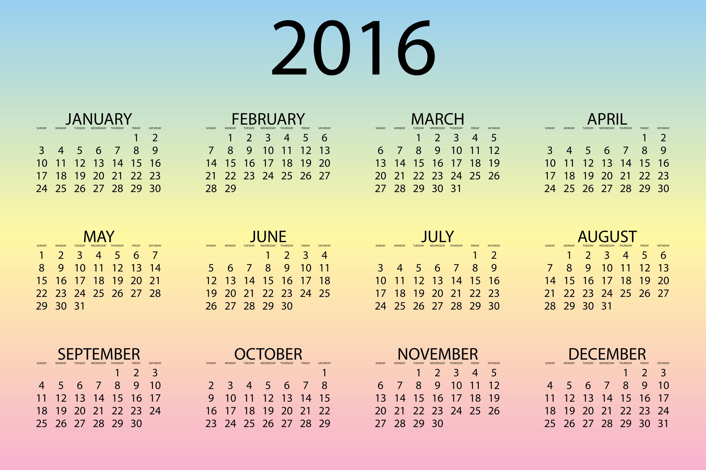 2016 Calendar   Wallpapers Pictures Pics Photos Images Desktop 2400x1600