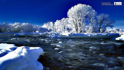 Winter snow river scene wallpaper Flickr   Photo Sharing 500x281