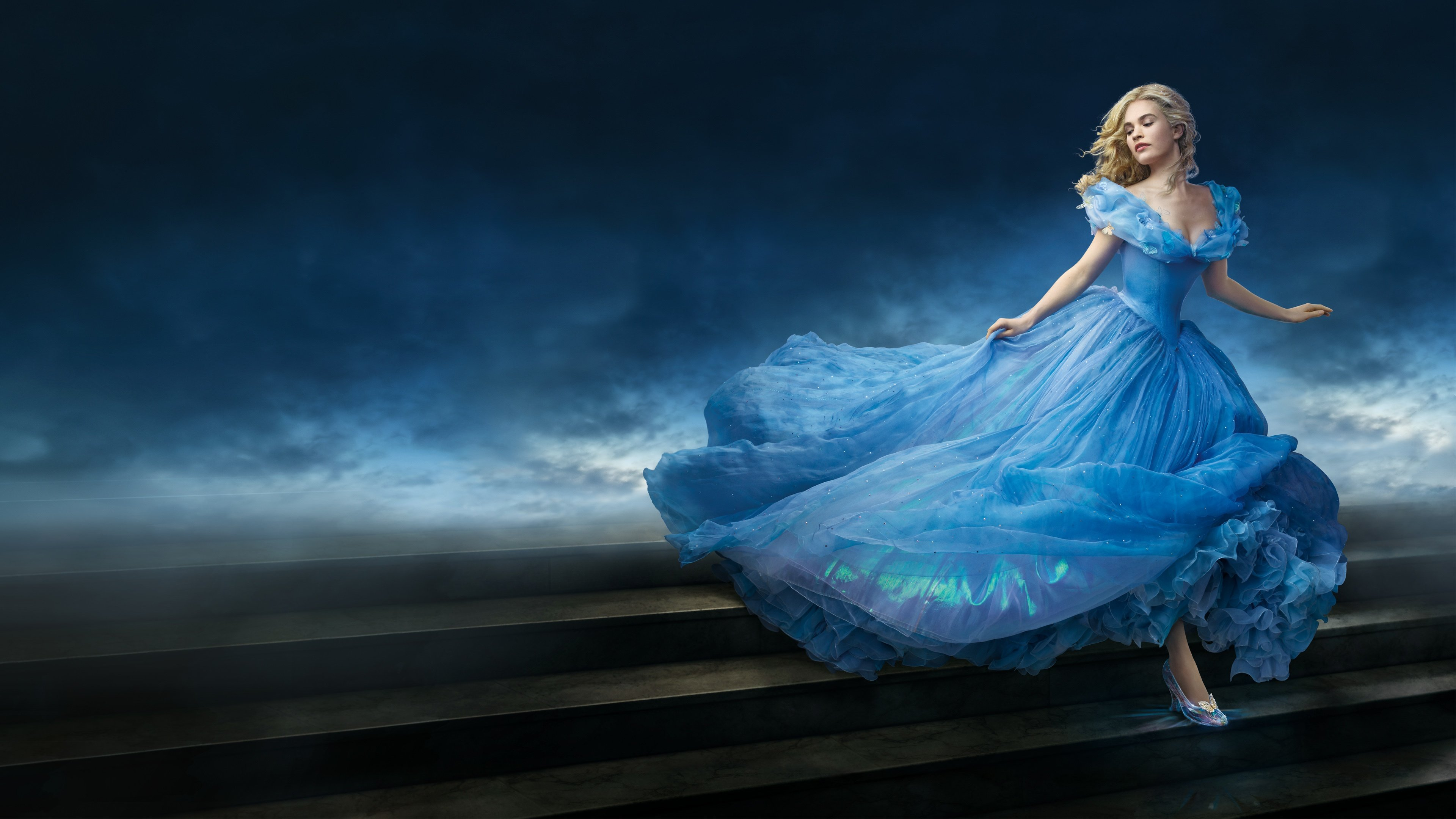 Lily James as Cinderella Wallpapers HD Wallpapers 3840x2160