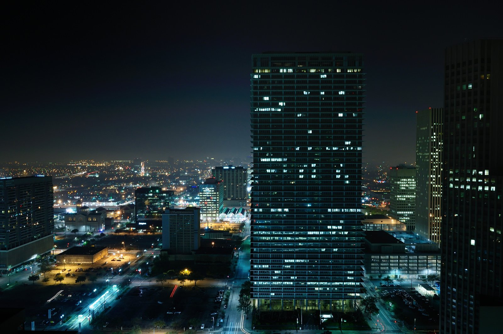 Houston architecture bridges cities City texas Night towers buildings 1600x1062