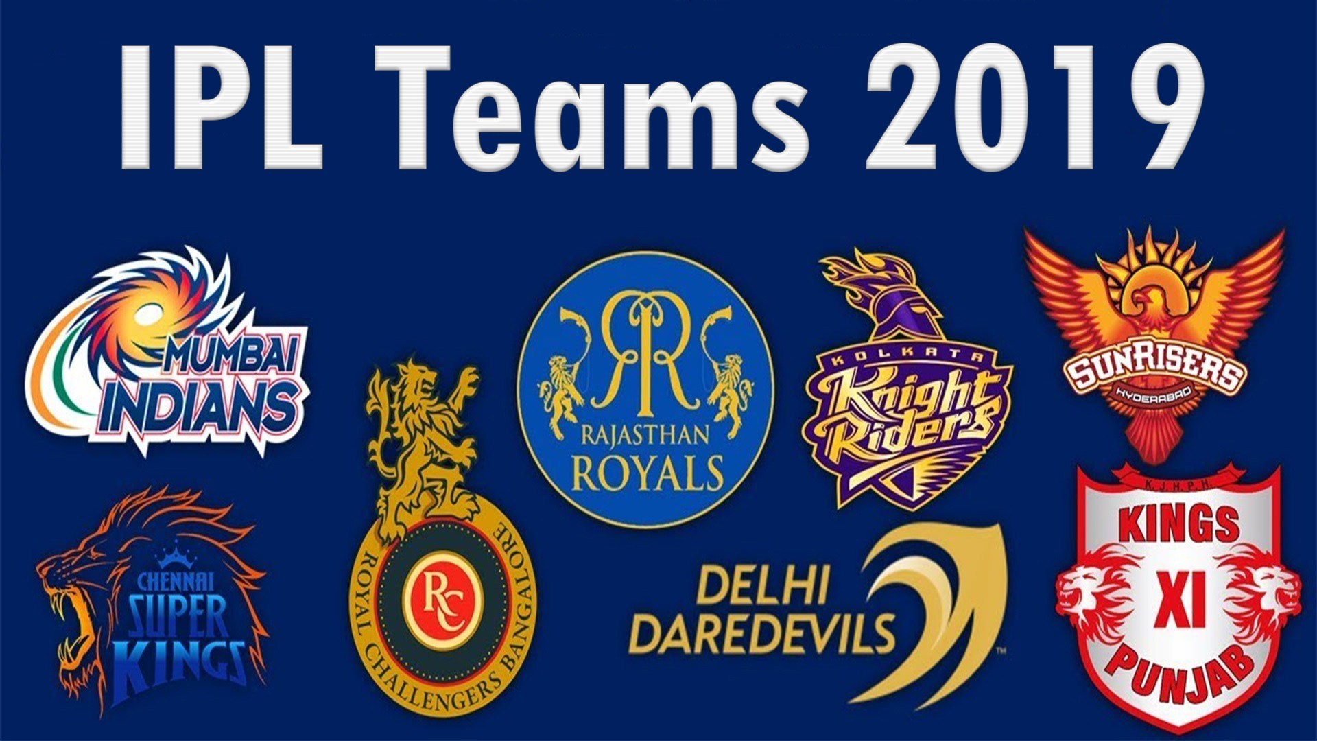 IPL Teams Logo Images HD Wallpapers 2019   Events Today 1920x1080