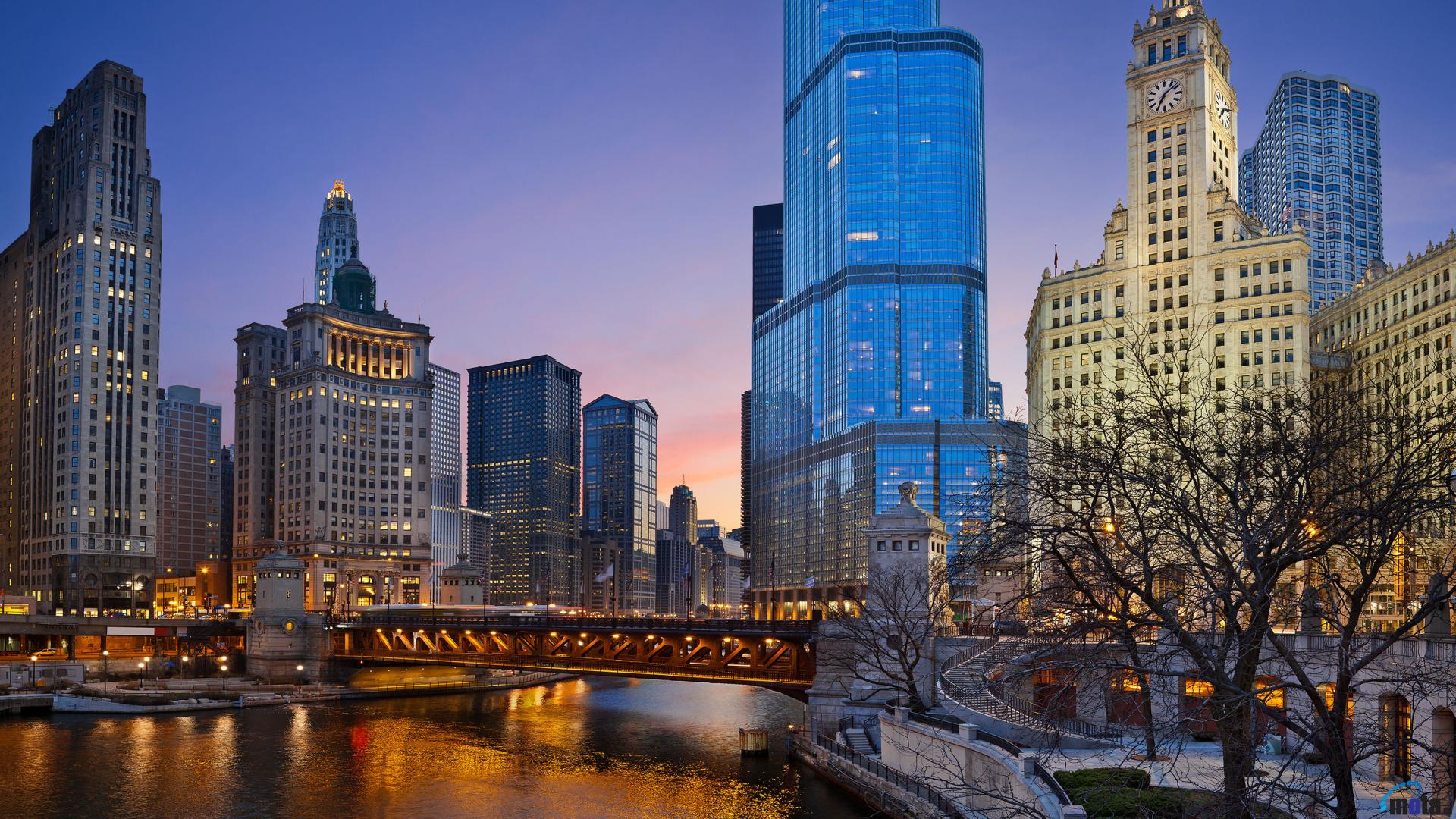 Download Wallpaper Evening Chicago Illinois state 1920 x 1920x1080