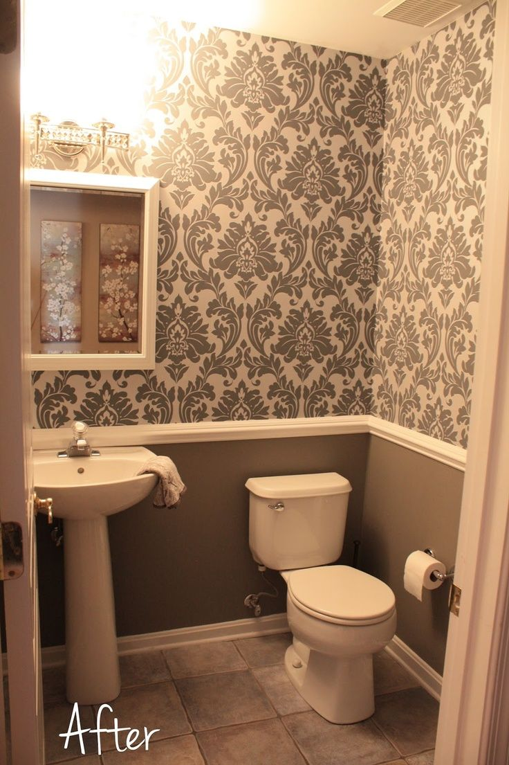 small downstairs bathroom like the wallpaper and chair rail idea 736x1105
