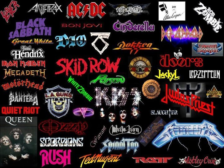 Classic rock band logo collage 720x540